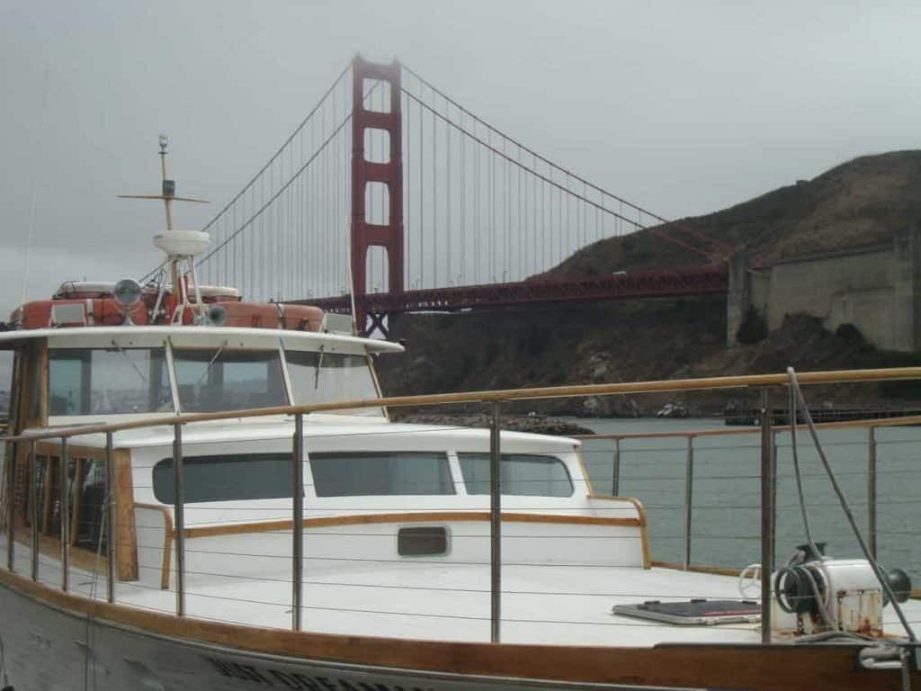 Just Dreaming Yacht Charter docked at Presidio Yacht Charter